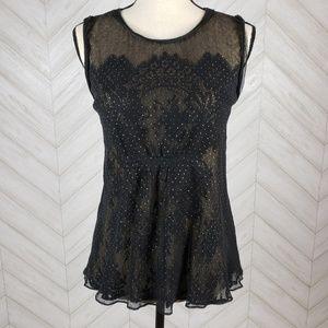 ELIE TAHARI Black Cream Cystal Lace Overlay Blouse